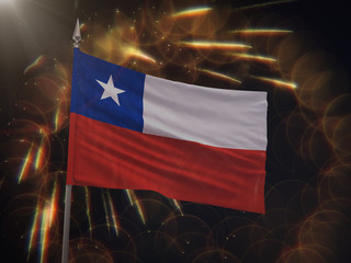 Flag of Chile with fireworks display in the background