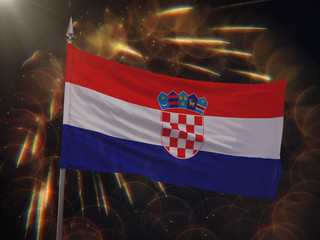 Flag of Croatia with fireworks display in the background