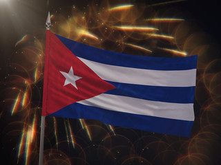 Flag of Cuba with fireworks display in the background