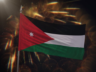 Flag of Jordan with fireworks display in the background