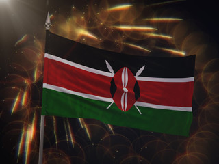 Flag of Kenya with fireworks display in the background Wall mural