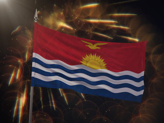 Flag of Kiribati with fireworks display in the background