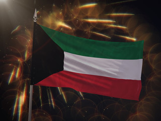 Flag of Kuwait with fireworks display in the background