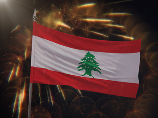 Flag of Lebanon with fireworks display in the background
