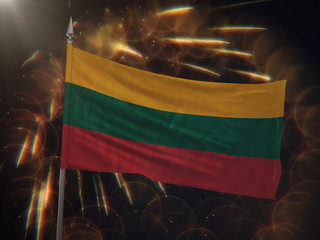 Flag of Lithuania with fireworks display in the background