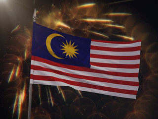 Flag of Malaysia with fireworks display in the background
