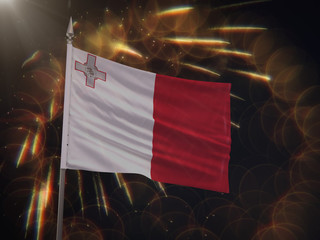Flag of Malta with fireworks display in the background