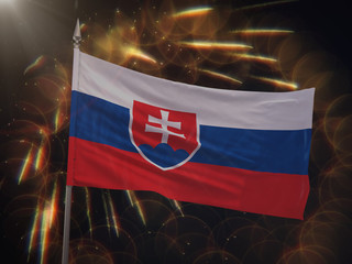 Flag of Slovakia with fireworks display in the background