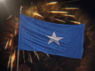 Flag of Somalia with fireworks display in the background