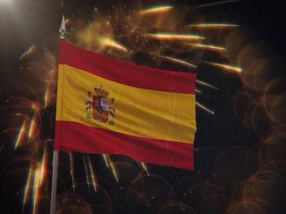 Flag of Spain with fireworks display in the background