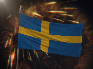 Flag of Sweden with fireworks display in the background