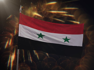 Flag of Syria with fireworks display in the background