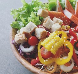 Healthy vegetable salad in a dish