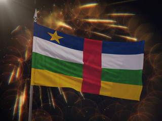 Flag of the Central African Republic with fireworks display in the background
