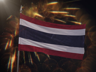 Flag of Thailand with fireworks display in the background
