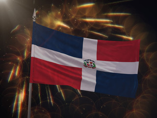 Flag of the Dominican Republic with fireworks display in the background