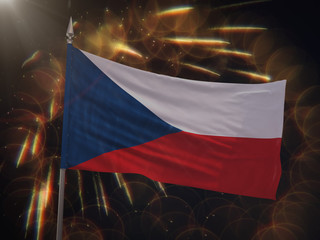 Flag of the Czech Republic with fireworks display in the background