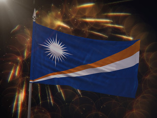 Flag of the Marshall Islands with fireworks display in the background