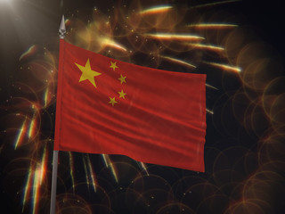 Flag of the Peoples Republic of China with fireworks display in the background