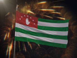Flag of the Republic of Abkhazia with fireworks display in the background