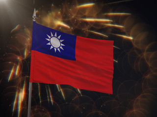 Flag of the Republic of China with fireworks display in the background