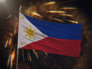 Flag of the Philippines with fireworks display in the background