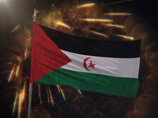Flag of the Sahrawi Arab Democratic Republic with fireworks display in the background