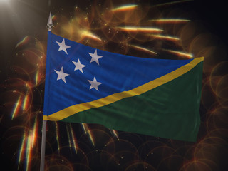 Flag of the Solomon Islands with fireworks display in the background