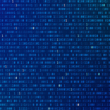 Binary code. Programming encoded information. Technology background. Stream of zeros and ones. matrix of numbers on blue background. Vector illustration