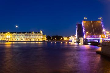 urban landscape at night. Palace bridge St. Petersburg
