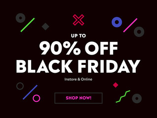 Black Friday Special Offer Sale. Banner Up to 90% OFF Price Discount. Modern Vector Illustration with black background.