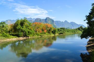 Song river in Vang Vieng, Laos