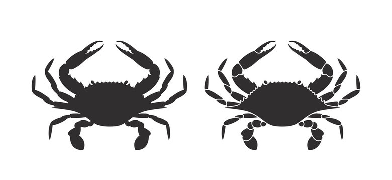 Crab silhouette. Logo. Isolated crab on white background