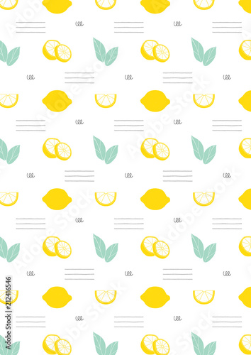 Lemon Pattern Hand Drawn Background Kitchen Wallpaper Stock Photo