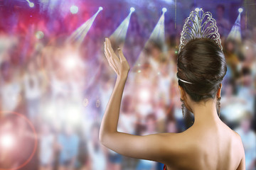 Back view Portrait of Miss Pageant Beauty Contest in Diamond Crown