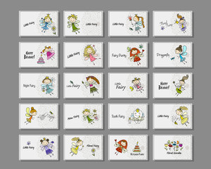 Cute little fairies collection, cards for your design