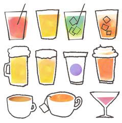 飲み物セット ドリンク ジュース 手描き 水彩
