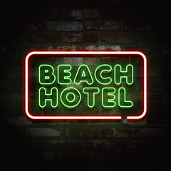 Tropical summer, neon sign background