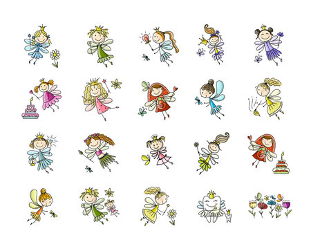 Cute little fairies collection, sketch for your design
