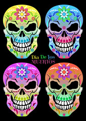 Set of patterned colorful skulls in black background for the day of the Dead. Dia de los Muertos. Vector illustration.