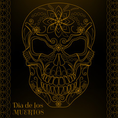 Patterned gold skull in black background for the day of the Dead. Dia de los Muertos. Vector illustration.