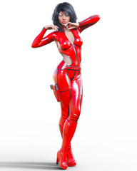 3D beautiful tall woman leather red bodysuit.Latex tight fitting suit.Gun in holster.Girl studio photography.High heel.Conceptual fashion art.Seductive candid pose.Realistic render illustration.