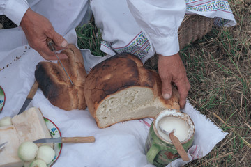 Homemade bread served on a picnic