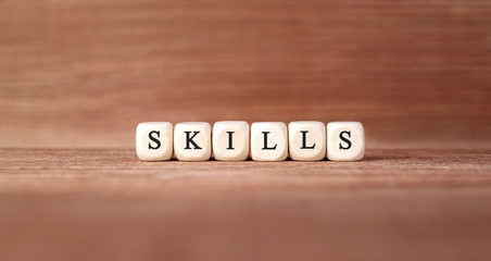 Word SKILLS made with wood building blocks