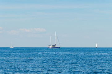 Seascape with white yacht on the sea in Odesa