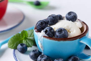 Vanilla ice cream with fresh blueberries