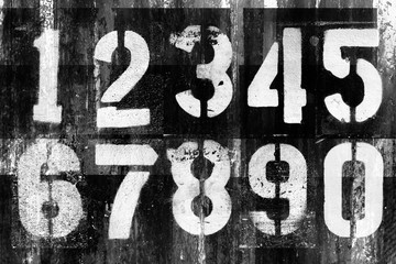 Abstract grunge futuristic background with numbers. Blueprint on old grungy surface. Grungy font design