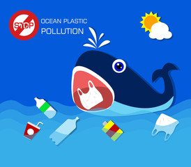 Plastic pollution in ocean environmental problem.Whale eating plastic bags.