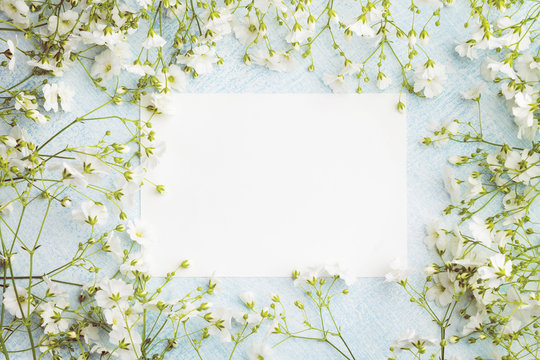 Empty sheet of paper surrounded by small white flowers. Blank postcard on a blue background