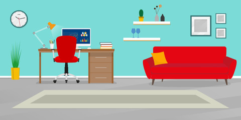 Home office interior. Workspace in room with office chair, desk, computer, sofa and clock on the wall. Modern business background. Vector illustration.